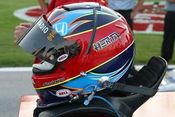 Bryan Herta's helmet sits ready