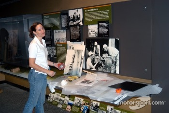 Installation of Louie Unser exhibit in Pikes Peak room
