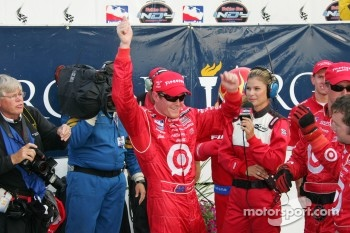 Victory lane: race winner Scott Dixon celebrates