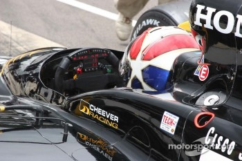 Eddie Cheever lights up the steering wheel data information