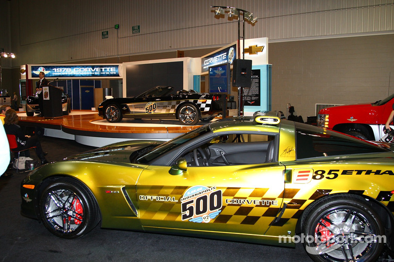 The E85 concept Corvette Pace Car, front, and the 30th anniversary commemorative edition Pace Car