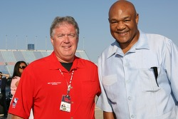 Boxing legend George Foreman with reverend Bob Hills after the morning service