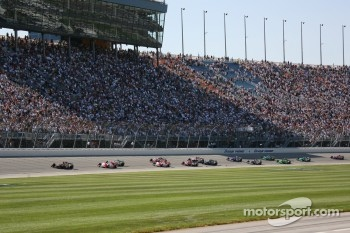 Green flag: Dario Franchitti leads Sam Hornish Jr. and Tony Kanaan