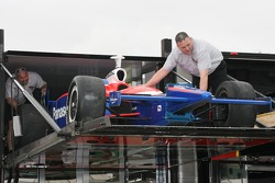 Panther Racing car unloaded from transporter