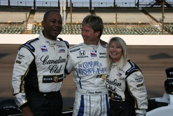 Vision Racing driver Davey Hamilton poses with two local radio celebrities