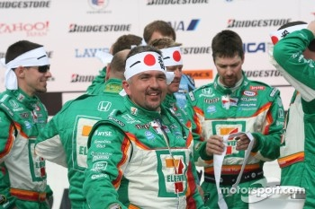 Victory lane: Tony Kanaan's crew celebrates