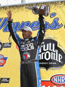 Antron Brown celebrates after winning the Southern Nationals at Atlanta Dragway