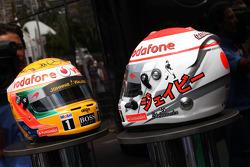 Helmet of Jenson Button, McLaren Mercedes and Lewis Hamilton, McLaren Mercedes with Steinmetz Diamonds