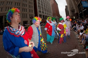 Indy 500 festival parade: clowns entertain the crowd