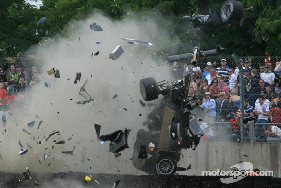 Massive crash for Allan McNish in the #3 Audi Sport North America Audi R18 TDI during the 24 Hours of Le Mans.