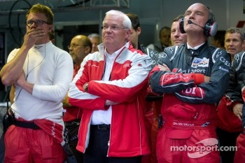 Dr. Wolfgang Ullrich and Audi Sport team members watch the last minutes of the race