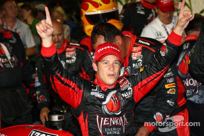 Victory lane: race winner Marco Andretti celebrates