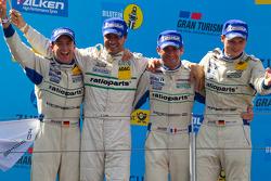 Podium: race winners Marc Lieb, Lucas Luhr, Romain Dumas, Timo Bernhard celebrates
