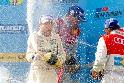 Podium: champagne celebrations