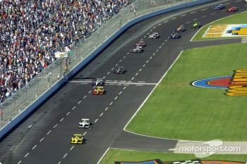 Green flag: Sam Hornish Jr. taking the lead