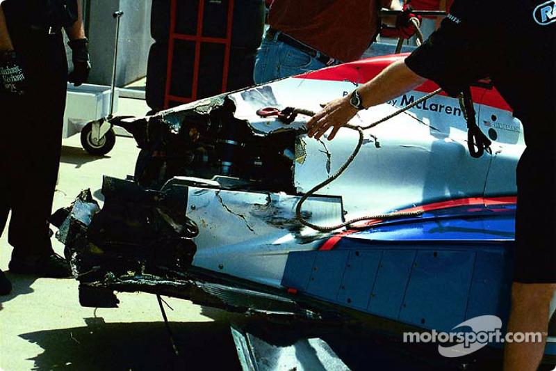 Alex Barron's damaged car