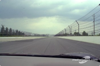 The view down the back stretch, we're hitting 150mph in a street car