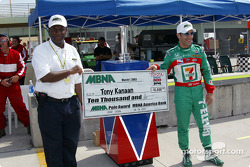 Tony Kanaan receives the MBNA Pole check