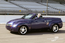 Chevy SSR at speed, with top down
