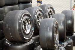 Tires lined up for practice session