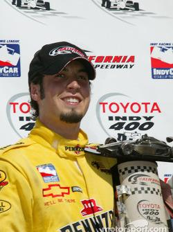Race winner Sam Hornish Jr. celebrates