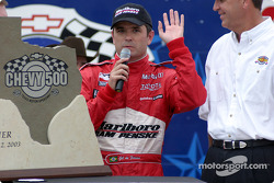 Victory lane: race winner Gil de Ferran