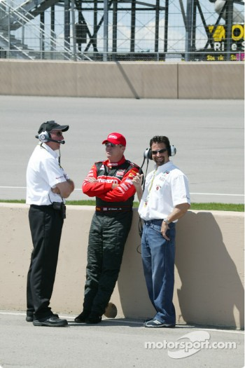 Brian Barnhart, Al Unser Jr and Michael Andretti