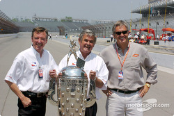Johnny Rutherford, Al Unser Sr. and Eddie Cheever with the Borg-Warner Trophy