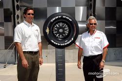 Tony George, left, and Firestone's Joe Barbieri at the presentation of the Indy 500 Firestone Firehawk