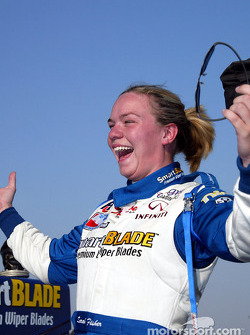 Sarah Fisher celebrating pole position