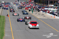 Cars head to track for pace laps