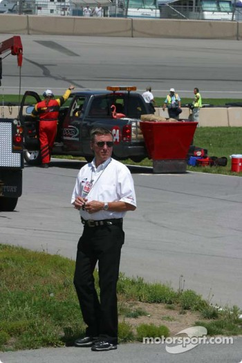 3 Time Indianapolis Champion Johnny Rutherford watches practice