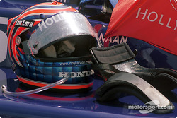 Tony Kanaan's helmet and HANS device