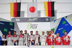 Podium LMP1: 1. #6 Toyota Racing, Toyota TS050 Hybrid: Stéphane Sarrazin, Mike Conway, Kamui Kobayashi; 2. #8 Audi Sport Team Joest, Audi R18: Lucas di Grassi, Loic Duval, Oliver Jarvis; 3. #1 Porsche Team, Porsche 919 Hybrid: Timo Bernhard, Mark Webber, B