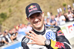 Sebastien Ogier, Volkswagen Motorsport, celebrates podium