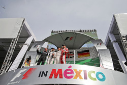 The podium (L to R): Lewis Hamilton, Mercedes AMG F1; Nico Rosberg, Mercedes AMG F1; Sebastian Vettel, Ferrari