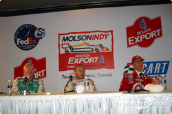 Press conference: pole winner Cristiano da Matta with Paul Tracy and Bruno Junqueira