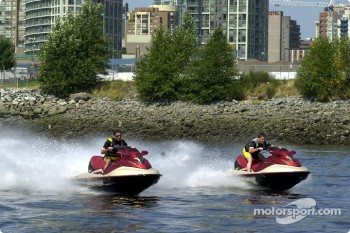 Team Player's drivers Alex Tagliani and Patrick Carpentier took some time off to do a Sea-Doo ride on the waters of False Creek in Vancouver