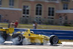 Roberto Gonzalez smokes the tires