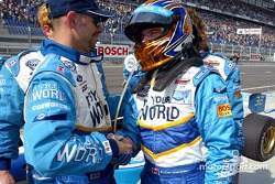 Patrick Carpentier is congratulated by crew chief Dave Brzozowski