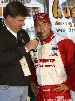 The podium: interview for race winner Michel Jourdain Jr.