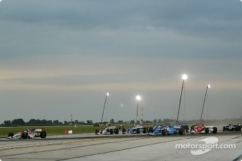 The start: Sébastien Bourdais leads the field, Paul Tracy prepares his move