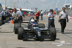 Champ Car 2-seater experience: Paul Tracy arrives with Bell's Duncan Stauch on pitlane