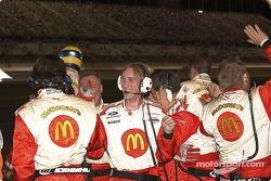 McDonald's crew celebrates Sebastien's victory