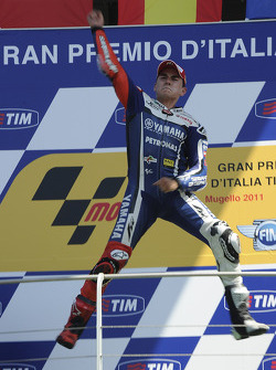 Podium: race winner Jorge Lorenzo