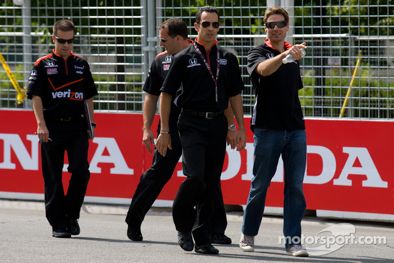 Track inspection for Helio Castroneves, Team Penske and Will Power, Team Penske