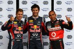 Pole winner Mark Webber, Red Bull Racing, with second place Lewis Hamilton, McLaren Mercedes, and third place Sebastian Vettel, Red Bull Racing