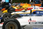 Indy cars in the collecting area