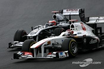 Kamui Kobayashi and Nico Rosberg