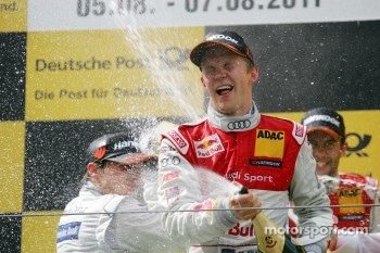 Podium: race winner Mattias Ekström, Audi Sport Team Abt, second place Bruno Spengler, Team HWA AMG Mercedes, third place Mike Rockenfeller, Audi Sport Team Abt